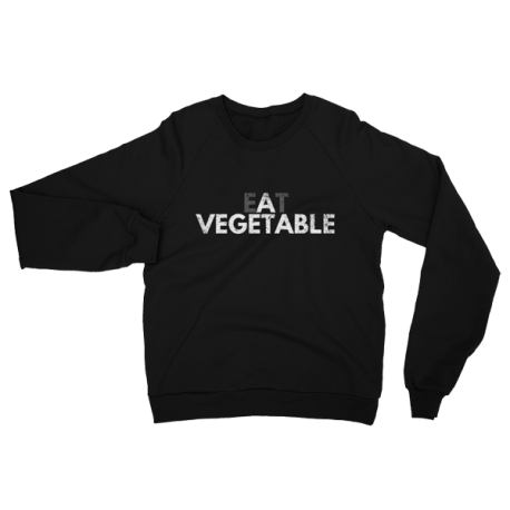 Black Eat A Vegetable Crewneck Sweater