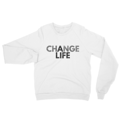 White Change A Life Crewneck Sweater